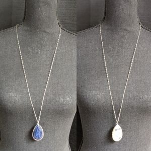 Silver Tone Necklace W/Two Sided Stone Pendant